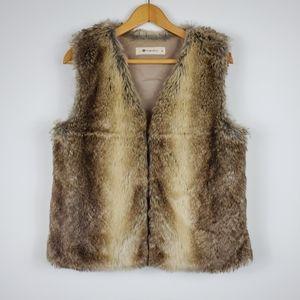 SALE The Impeccable Pig Brown & Tan Faux Fur Vest